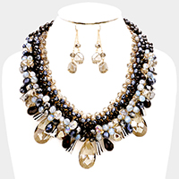 Weave Bead Teardrop Stone Statement Necklace