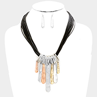 Layered Cord Metal Bar Fringe Necklace