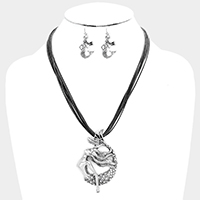 Layered Cord Rhinestone Metal Mermaid Necklace