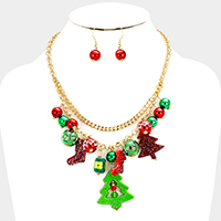 Christmas Tree Socks Metal Ball Statement Necklace