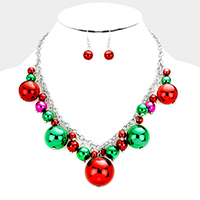 Multi Sized Metal Ball Statement Necklace