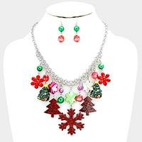 Snowflake Christmas Charm Statement Necklace
