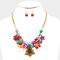 Christmas Tree Santa Charm Statement Necklace