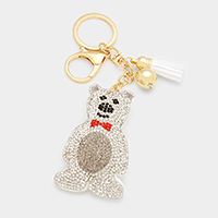Rhinestone Polar Bear Tassel Key Chain