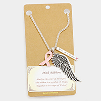 Be Brave Pink Ribbon Wing Pendant Necklace