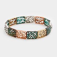 Filigree Rectangle Metal Stretch Bracelet