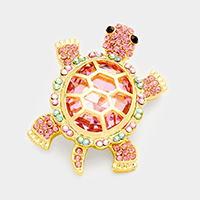 Filigree Turtle Back Pave Turtle Pin Brooch