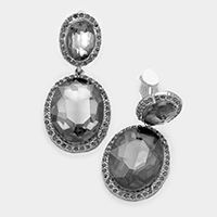 Double oval glass crystal clip on earrings