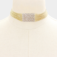 Layered Chain Accented Rhinestone Choker Necklace