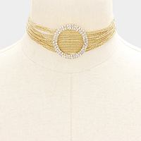 Layered Chain Accented Rhinestone Hoop Choker Necklace