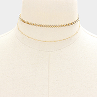 Layered Metal Chain Choker Necklace