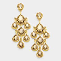 Oversized Rhinestone Trim Teardrop Chandelier Earrings