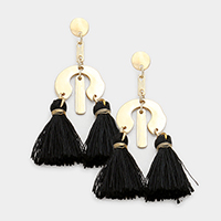 Geo Abstract Double Tassel Earrings