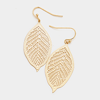 Filigree Metal Leaf Dangle Earrings