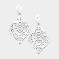 Filigree Diamond Shaped Metal Earrings