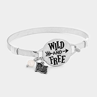 Wild and Free Flag Pearl Charm Metal Hook Bracelet