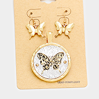Embossed Butterfly Round Metal Magnetic Pendant Set