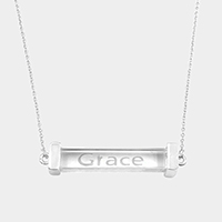 Grace Rectangular Clear Lucite Pendant Necklace