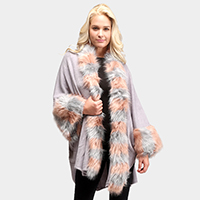 Faux Fur Trim Sleeve Cape