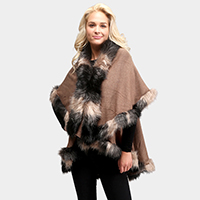 Faux Fur Front Closure Shawl
