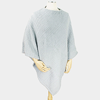 Soft Fur Feel Stripe Poncho