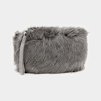 Faux Fur Rhinestone Strap Clutch Bag