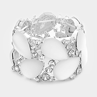 Marquise Accented Cloudy Teardrop Stone Stretch Bracelet