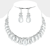 Marquise Cloudy Teardrop Stone Evening Necklace