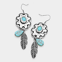 Leaf Turquoise Dangle Earrings