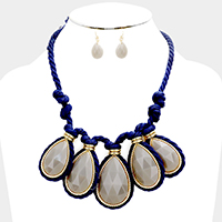 Knotted Rope Teardrop Stone Statement Necklace