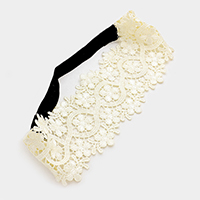 Wide Flower Lace Stretch Headband