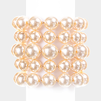 5 PCS - Pearl Stack Stretch bracelet