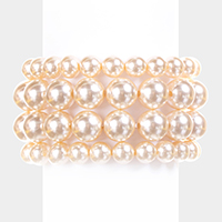 4 PCS - Pearl Stack Stretch bracelet