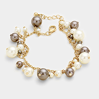 Pearl Charm Link Bracelet with extension