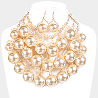 Layered Weave Chunky Pearl Necklace