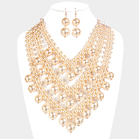 Layered Pearl Beaded Drop Pearl   Bib Necklace