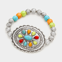 Embossed Accented Turquoise Stretch Bracelet