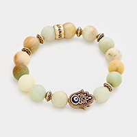 Strength Semi Precious Hamsa Hand Evil Eye Stretch Bracelet