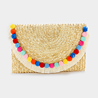 Semi circle pom pom & tassel  clutch bag with strap
