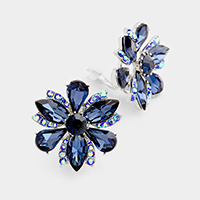 Marquise Flower Clip on Evening Earrings