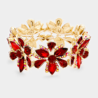 Marquise Flower Glass Stone Evening Bracelet