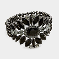 Rhinestone Trim Accented Glass Stone Evening Bracelet