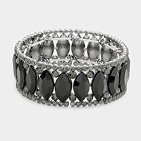 Rhinestone Trim Oval Stone Evening Bracelet