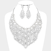 Marquise Oval Stone Cluster Vine Bib Evening Necklace