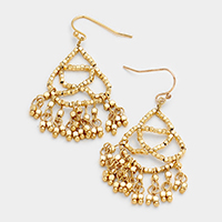 Weave Cube Bead Fringe Earrings