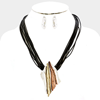 Layered Cord Abstract Metal Necklace