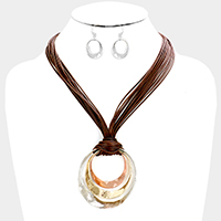 Layered Cord Wavy Triple Metal Hoop Necklace