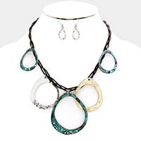 Twisted Cord Teardrop Hoop Statement Necklace