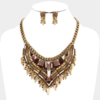 Accented Cube Bead Fringe Metal Statement Necklace