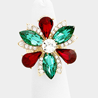 Marquise Flower Glass Stone Ring